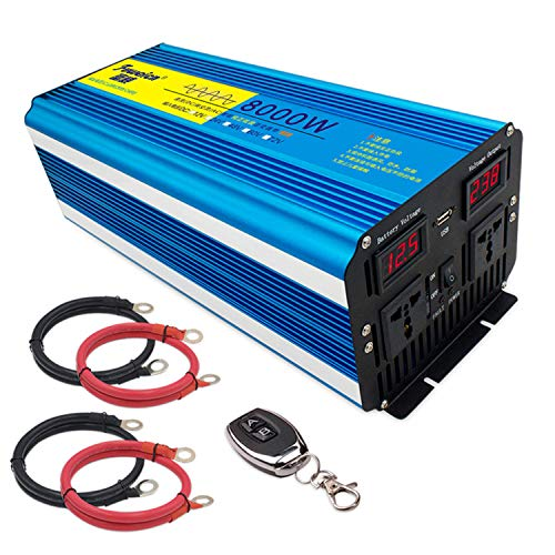 Kymzan Reiner Sinus Wechselrichter 3000 W / 4000 W / 5000 W / 6000 W / 7000 W / 8000 W Spannungswandler DC 12V/24V Auf AC 230V Umwandler - Inverter Konverter mit 2 Steckdose und USB Ports,24V-8000W