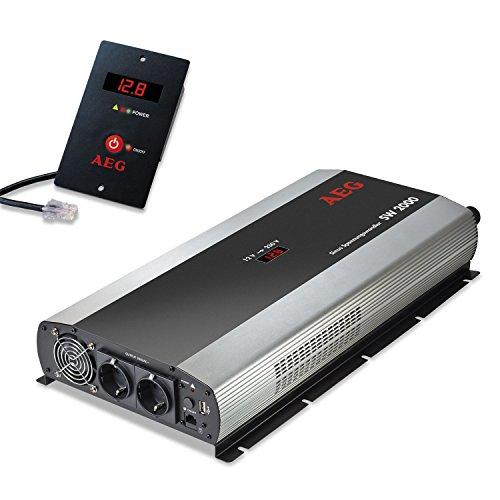 AEG Automotive 97123 Sinus-Spannungswandler SW 2000, 12 Volt auf 230 Volt, mit LC-Display, USB Ladebuchse, Fernsteuerungsmodul und Batteriewächterfunktion