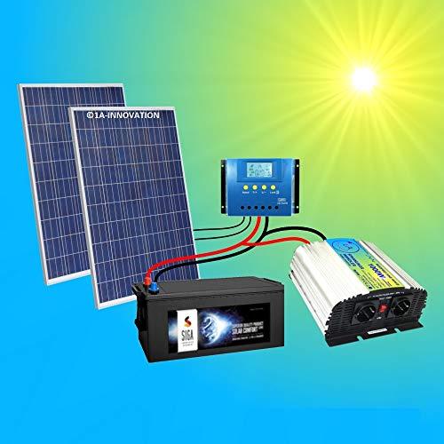 500W Komplette 220V Solaranlage TÜV mit 280Ah Qualitäts- Akku wartungsfrei + 2x 285W Qualitäts- Solarmodule + 1000W Qualitäts Spannungswandler + Laderegler 60A LCD Display Inselanlage Komplettsystem