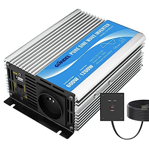 Wechselrichter Pur Sinus 600 W DC 12 V auf AC 220 V 230 V Wechselrichter Transformator mit Fernbedienung und USB-Port für Laptop, Kamera, Smartphone GIANDEL