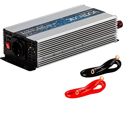 VOLTRONIC® MODIFIZIERTER Sinus Spannungswandler 1000W mit E-Kennzeichen, 12V auf 230V, Stromwandler Inverter Wechselrichter Auto PKW