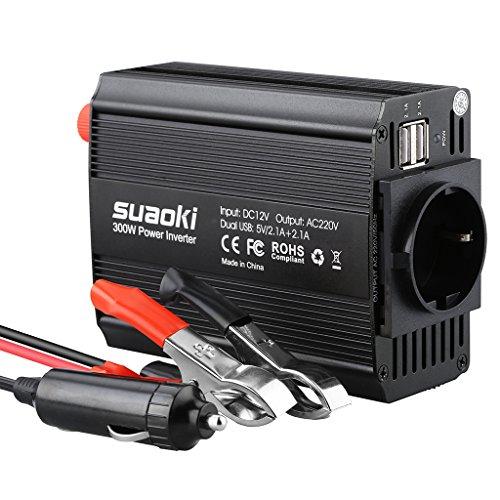 300W Spannungswandler Wechselrichter SUAOKI DC 12V auf AC 220V-240V Inverter mit 2 USB Anschlüsse und Zigarettenanzünder Stecker, Power Inverter für Laptop, Tablet, Smartphone und Andere Geräte