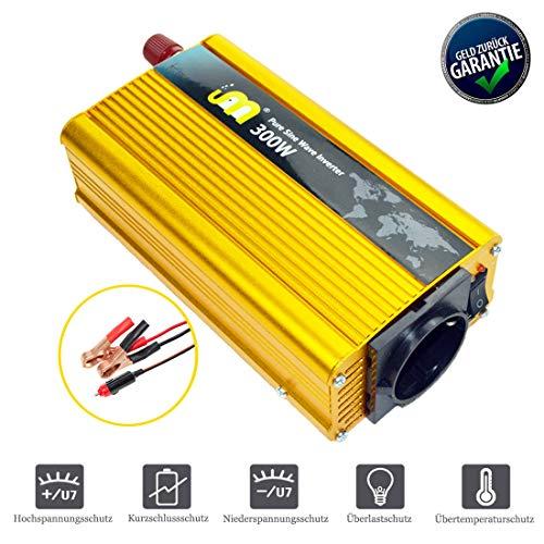 CIDEARY 300W Reiner Sinus Wechselrichter, 12V auf 230V KFZ Spannungswandler Power Inverter mit USB Anschlüsse Zigarettenanzünder Anschlüssen(Gold, 300W Reiner Sinus Wechselrichter)