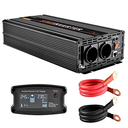 EnRise 2500W Spitzenwert 5000W Reiner Sinus Spannungswandler Wechselrichter DC 24V auf AC 230V Mit LCD-Fernbedienung