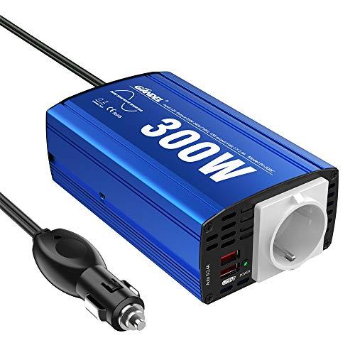GIANDEL Reiner Sinus Wechselrichter 300W Kfz-Adapter Spannungswandler 12V DC 230V AC mit 4.8A Dual USB und Steckdose Für Tablets Laptops Smartphones