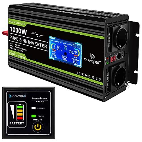 NOVOPAL Spannungswandler 12v 230v Reiner Sinus 1000W Kfz Wechselrichter mit LCD-Display und USB-Anschluss + 2AC-Steckdosen + Fernbedienung + Batteriekabel und Handbuch
