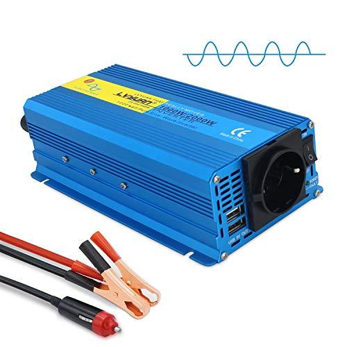 Yinleader Wechselrichter 1000W /2000W 12V 230V Reiner Sinus Spannungswandler mit 1 Steckdose 2 USB Anschlüsse