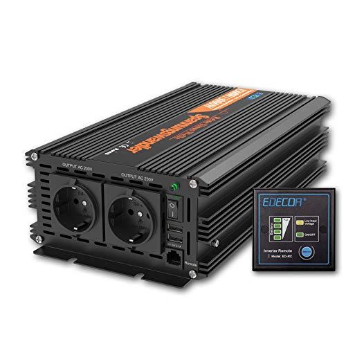 EDECOA Wechselrichter 1500w Spannungswandler 24v 230v Reiner Sinus mit Fernbedienung und 2X USB Wechselrichter 1500w und 3000w