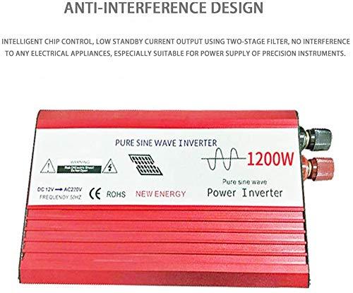 Auto Wechselrichter,1200W KFZ Reiner Sinus Spannungswandler Wechselrichter DC 12V/24V/48V/60V/72V Auf AC 230V Konverter Mit Universal Steckdose Und USB Autoladegerät, für Auto, Boot, Camping,72V