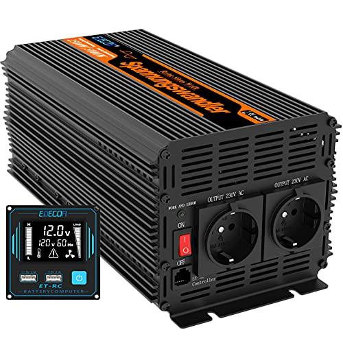 EDECOA Wechselrichter 3000w 12v 230v Spannungswandler mit Neuer Fernbedienung 2X USB und Bildschirm LCD für Sonnenkollektor KFZ Wohnmobi