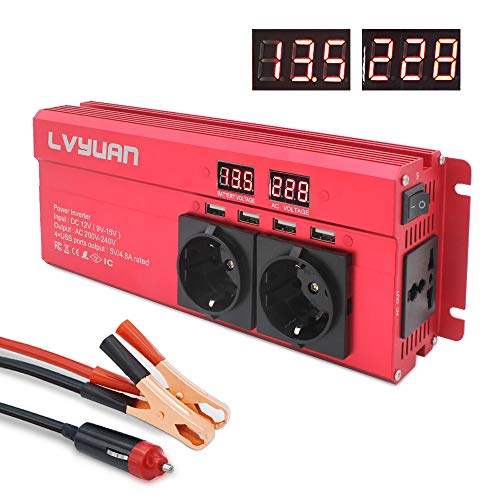 Spannungswandler 12V 230V 1000W Wechselrichter mit 3 Steckdose und 4 USB LED Spannungsanzeige/Stoßleistung 2000W