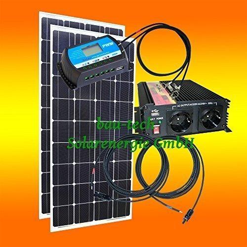 200 Watt Inselanlage, 12 Volt SET mit Spannungswandler ohne Batterie von bau-tech Solarenergie GmbH