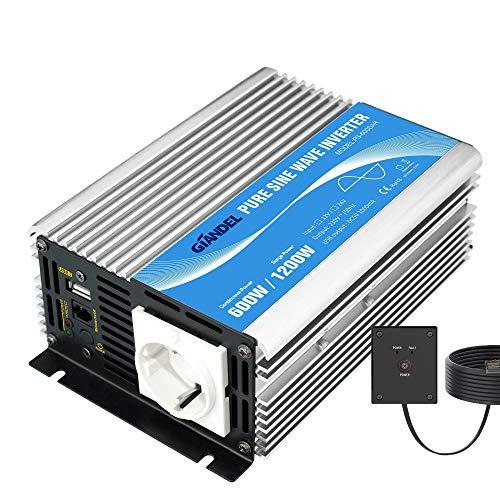 GIANDEL Power Inverter Sinuswellen-Wechselrichter 600 W DC 12 V auf AC 220 V 230 V Wechselrichter mit Fernbedienung & USB-Anschluss für Wohnmobil, Auto