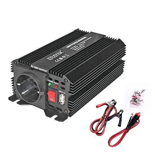 ERAYAK Wechselrichter 300W (Spitzenleistung 600W), Spannungswandler, Transformator, Stromwandler für 12V auf 230V Inverter, mit AC-Steckdosen und 5V 2.1A USB.