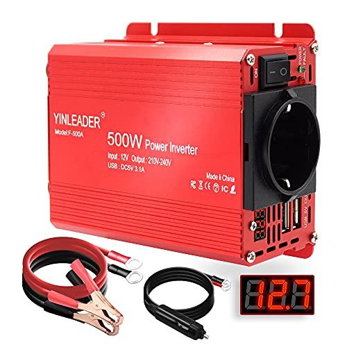 Yinleader Wechselrichter 12v 230v KFZ Spannungswandler 500W Stromwandler mit LED Display 2 USB Anschlüsse inkl. Kfz Zigarettenanzünder Stecker,Rot