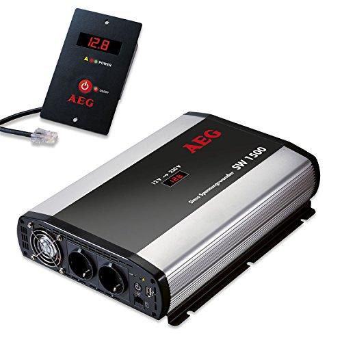 AEG 97122 Sinus-Spannungswandler SW 1500 Watt, 12 Volt auf 230 Volt, Fernsteuerungsmodul und Batteriewächterfunktion