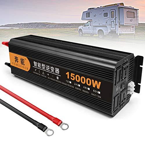 ZH-VBC Sinus Wechselrichter 24V Auf 220V 230V, Spannungswandler 3200W 4000W 5000W 6000W 8000W 9000W 12000W 15000W Stromwandler Inverter mit Steckdose USB für Auto Boot, Camping,15000W