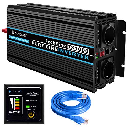 novopal® Spannungswandler 12V auf 230V 1000W/2000W Reiner Sinus Wechselrichter Konverter mit Zwei AC-steckdosen mit Fernbedienung und 2.1A USB