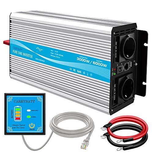 CARRYBATT Spannungswandler 12V auf 230V Wechselrichter Reiner Sinus 3000W mit 5 Meter Fernbedienung mit Dual-AC-Ausgängen & 2.1A USB-Anschluss-Spitzenleistung 6000 Watt