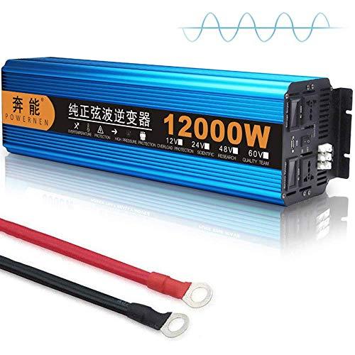 FSCLJ Reiner Sinus Wechselrichter DC 12V/24V Auf AC 230V Power Inverter, 3000W / 4500W / 6000W / 8000W / 12000W Spannungswandler, Umwandler mit Steckdose USB Anschlüsse und LED-Digitalanzeige