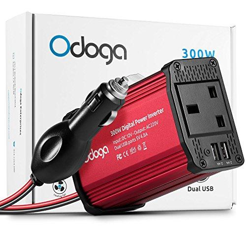 Odoga *UK Steckdose* 300W-Autostrominverter von 12V Gleichstrom zu 220V-240V Wechselstrom mit 4.8A-Dual-USB-Anschluss - Laden Sie Ihr Laptop, iPad, iPhone, Tablet, Ihre Konsole und mehr