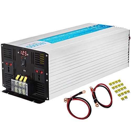 VEVOR 220V Spannungswandler Wechselrichter 5000W Reiner Sinuswellen Wechselrichter ZPX-5000W 12V DC Pure Sine Wave Power 10,85 kg Reiner Sinus-Wechselrichter Fernbedienung mit USB Kabel LED-Bildschirm