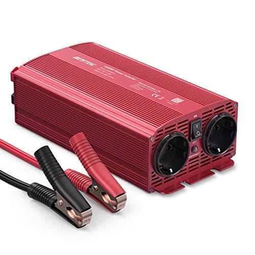BESTEK 1000W KFZ Spannungswandler DC 12v auf AC 230v Wechselrichter Stromwandler mit 2 AC Steckdose und 2 Stecker Krokodil Clip für Auto Batterie