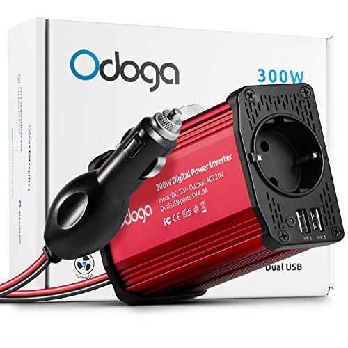Odoga 300W Spannungswandler Wechselrichter DC 12V auf AC 230V mit 4.8A-Dual-USB-Anschluss - Laden Sie Ihr Laptop, iPad, iPhone, Tablet, Ihre Konsole Und Mehr