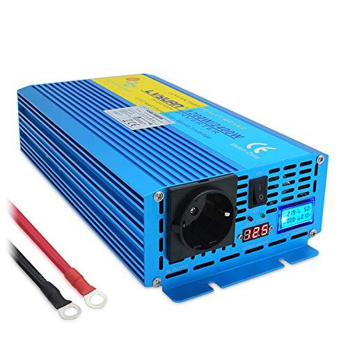 Wechselrichter 12V 230V 1200W /2400W Reiner Sinus Spannungswandler mit LED+LCD Display