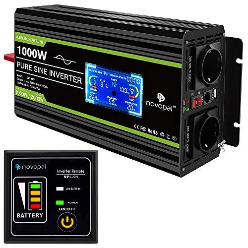 NOVOPAL spannungswandler 24v 230v Reiner Sinus 1000W Kfz wechselrichter mit LCD-Display und USB-Anschluss + 2AC-Steckdosen + Fernbedienung + Batteriekabel und Handbuch