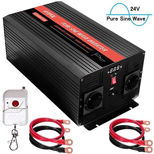 KRIPOL 3000w Reiner Sinus Wechselrichter 24v DC auf 220v/230V AC Kfz-spannungswandler mit 2 Steckdosen & einem 2.1AH USB-Ausgang - Kabellose Fernbedienung und LED-Anzeige - Spitzenleistung 6000W