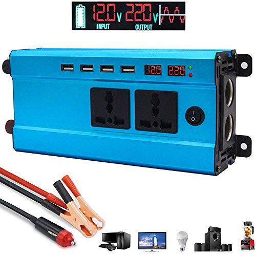LIMEID 1200W Spannungswandler 12V 24V 48V 60V auf 220V 230V - Wechselrichter, Kfz-Wechselrichter mit 2 Steckdosen 4 USB-Ports inklusive Kfz-Zigarettenanzünderstecker Autobatterieclip,48V
