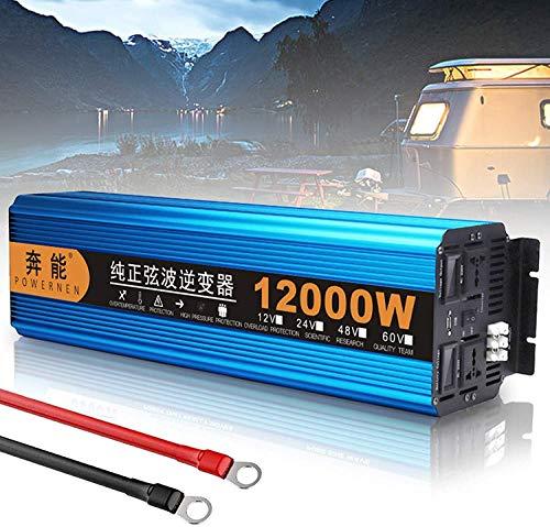 Auto Wechselrichter Inverter Pure Sine Wave 3000W 4500W 6000W 8000W 12000W Reiner Sinus Spannungswandler 12V 24V auf 220V 230V Umwandler-Inverter Konverter mit EU Steckdose und USB-Port (12000W,12V)