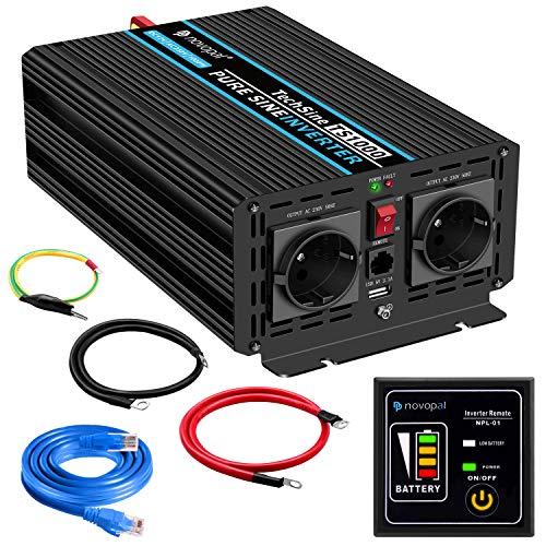 1000W KFZ Reiner Sinus Spannungswandler - Auto Wechselrichter 12v auf 230v Umwandler - Inverter Konverter mit 2 EU Steckdose und USB-Port - inkl. 5 Meter Fernsteuerung - Spitzenleistung 2000 Watt