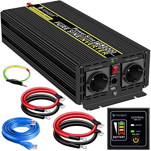 3000W KFZ Reiner Sinus Spannungswandler - Auto Wechselrichter 12v auf 230v Umwandler - Inverter Konverter mit 2 EU Steckdose und USB-Port - inkl. 5 Meter Fernsteuerung - Spitzenleistung 6000 Watt