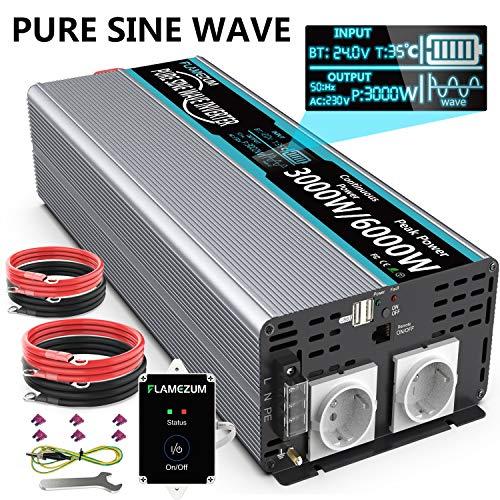 SUDOKEJI 3000W Spannungswandler 24V auf 230V Reiner Sinus Wechselrichter Konverter mit 2 EU Steckdose und 2 USB Port - LED Anzeige und Fernsteuerung